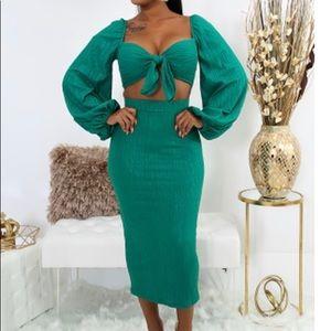 Green Puffy Sleeve Dress